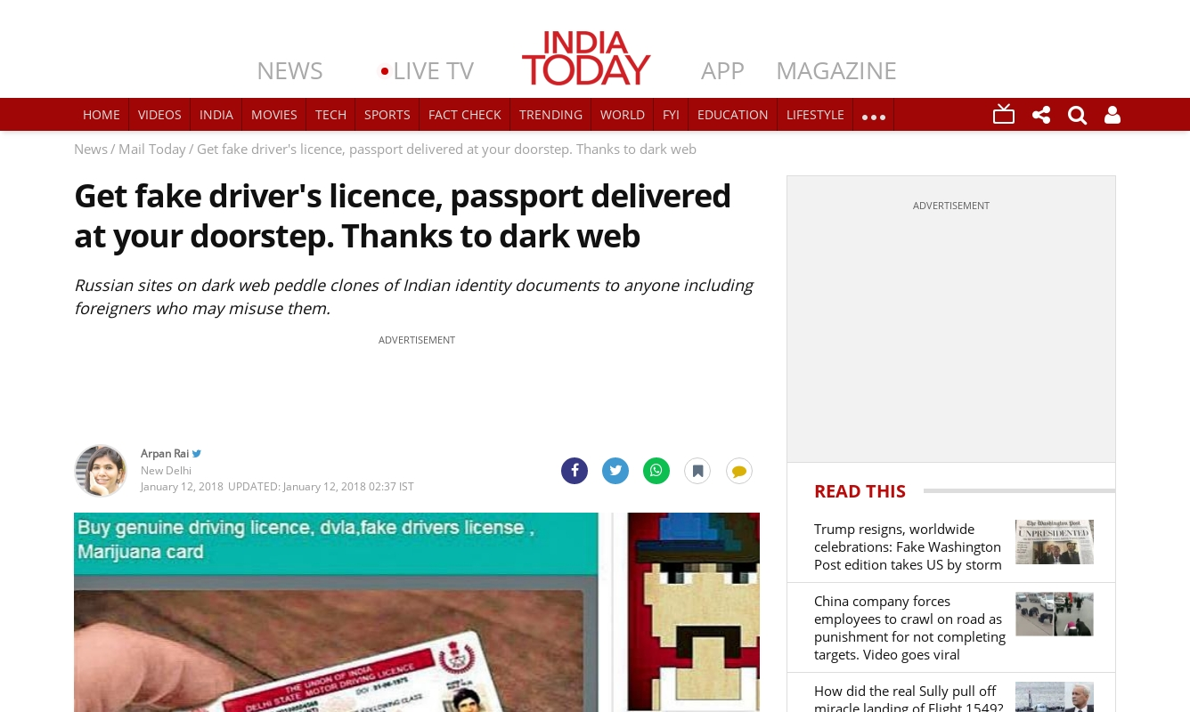 Get fake driver's licence, passport delivered at your doorstep. Thanks to dark web,12 jan 2018, India Today