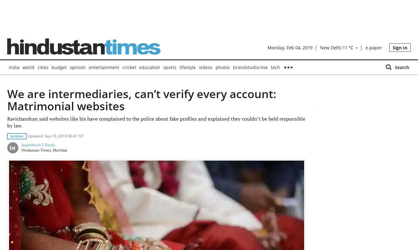 We are intermediaries, can't verify every account: Matrimonial websites (19 September 2018, Hindustan times)