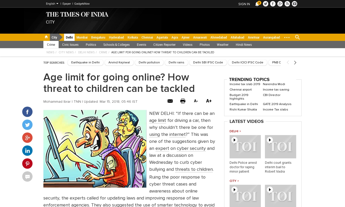 Age limit for going online? How threat to children can be tackled (15 March 2018, The Times of India)