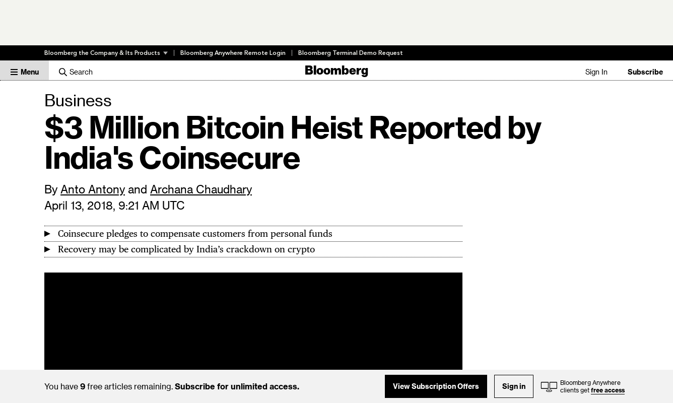 $3 Million Bitcoin Heist Reported by India's Coinsecure ( 13 April 2018, Bloomberg )