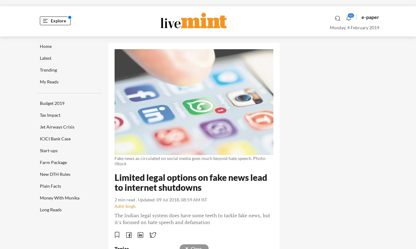 Limited legal options on fake news lead to internet shutdowns (9 July 2018, Livemint)